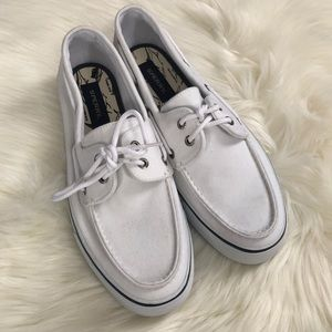 Sperry White Canvas Topsider Shoes Men's 11